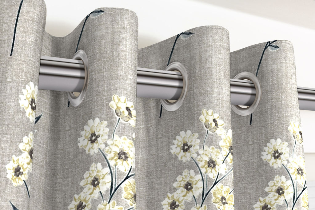 McAlister Textiles Meadow Soft Grey Floral Cotton Print Curtains Tailored Curtains