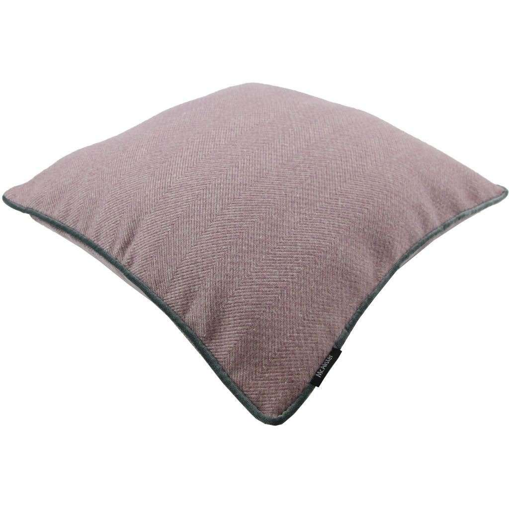 McAlister Textiles Herringbone Boutique Purple + Grey Cushion Cushions and Covers