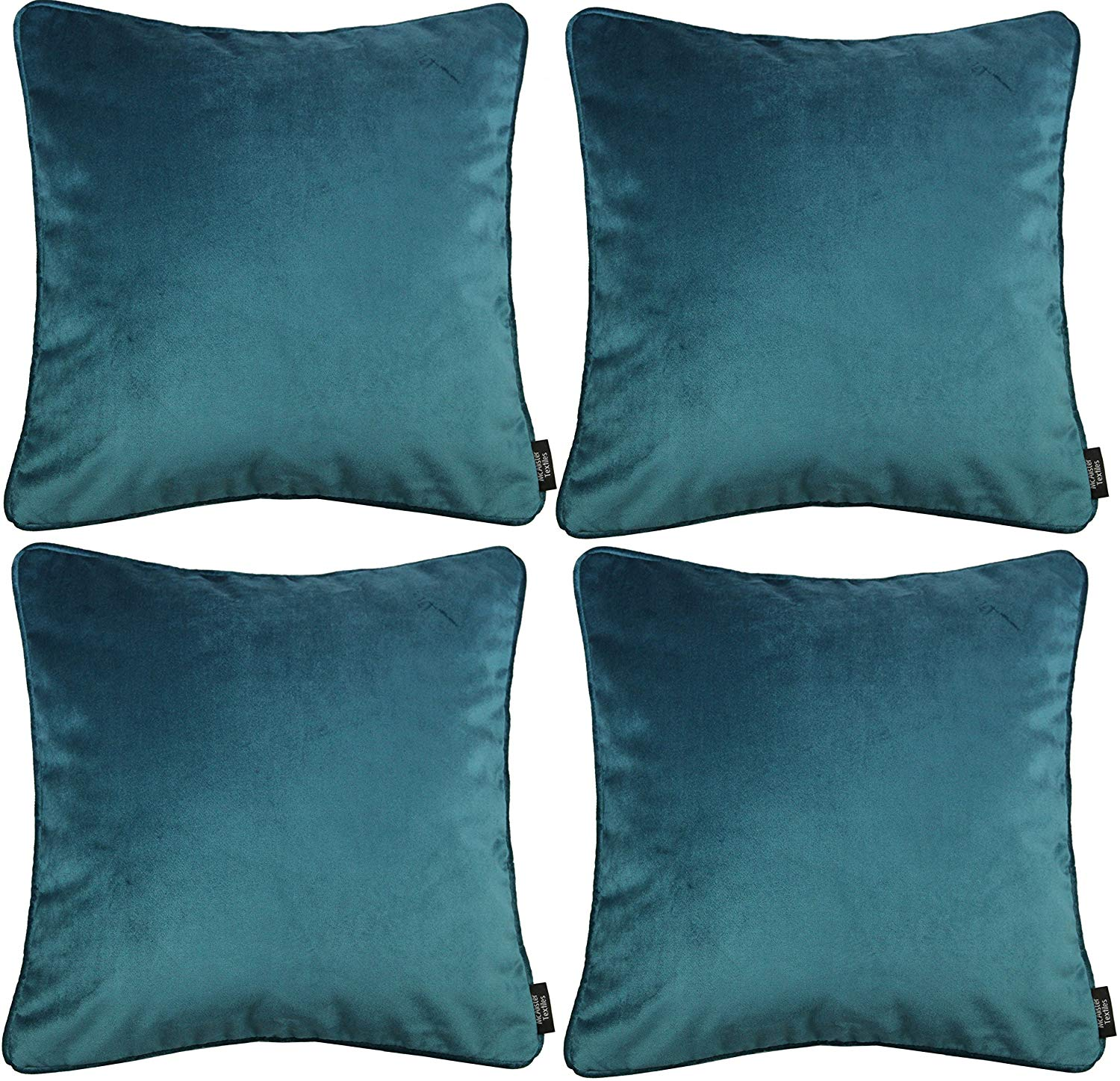 McAlister Textiles Matt Blue Teal Velvet 43cm x 43cm Cushion Sets Cushions and Covers Cushion Covers Set of 4