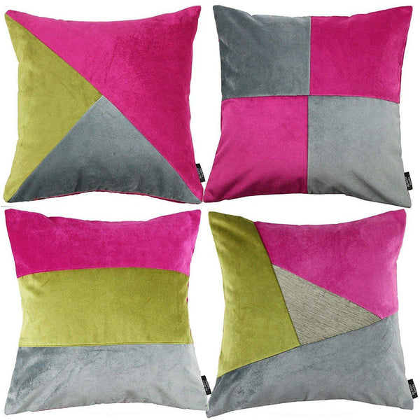 McAlister Textiles Patchwork Velvet Pink, Green + Grey Cushion Set Cushions and Covers Cushion Covers