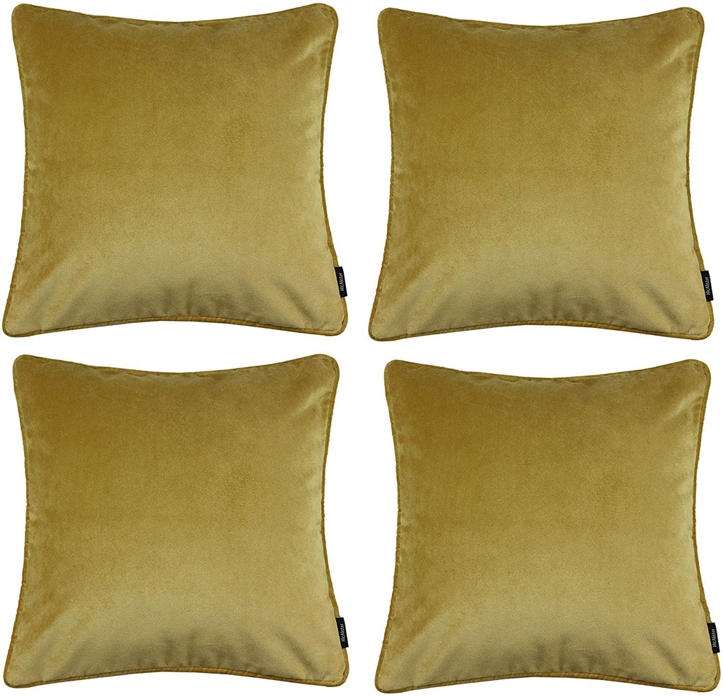 McAlister Textiles Matt Ochre Yellow Velvet 43cm x 43cm Cushion Sets Cushions and Covers Cushion Covers Set of 4