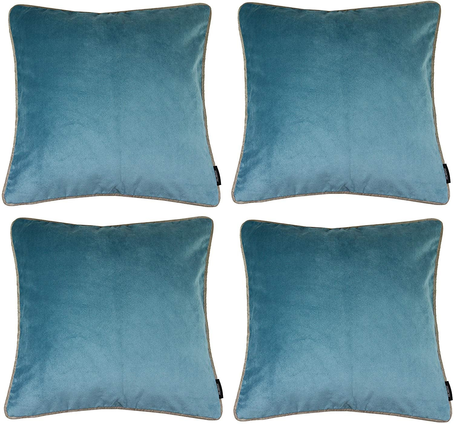 McAlister Textiles Matt Duck Egg Blue Velvet 43cm x 43cm Cushion Sets Cushions and Covers Cushion Covers Set of 4