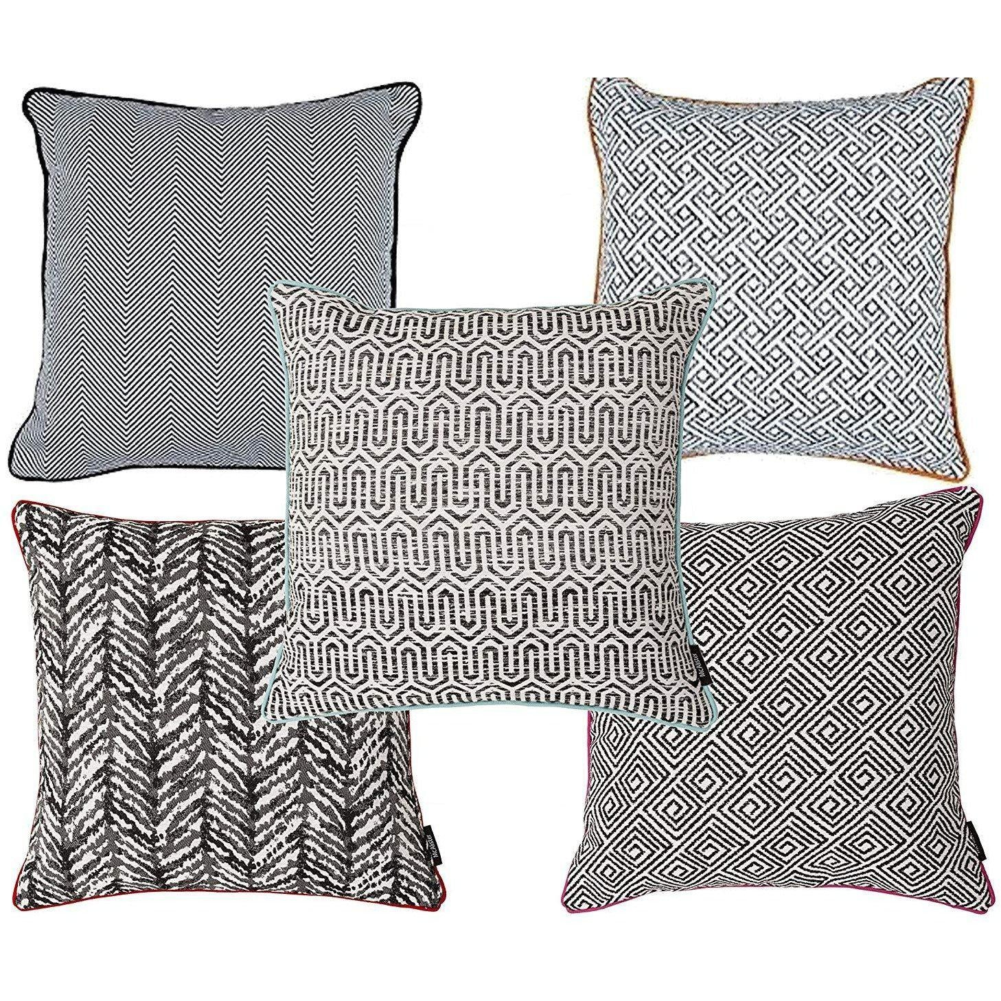 McAlister Textiles Aztec Geometric Black + White 43cm x 43cm Cushion Sets Cushions and Covers Set of 5 Cushion Covers