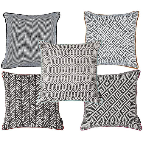 McAlister Textiles Cotton Geometric Aztec Cushion Sets - Black + White-Cushions and Covers-Set of 5-Cushion Covers-
