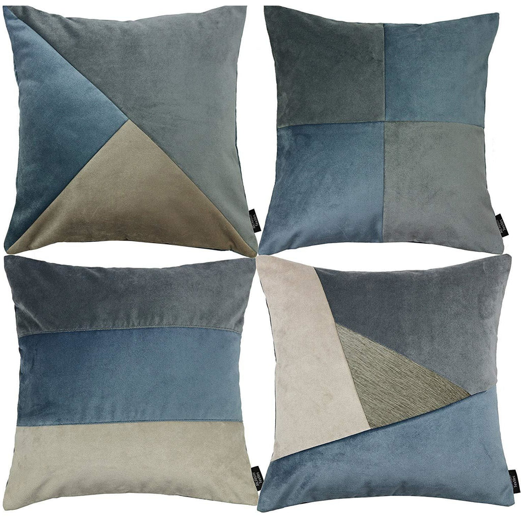 McAlister Textiles Patchwork Velvet Gold, Blue + Grey Cushion Set Cushions and Covers Cushion Covers