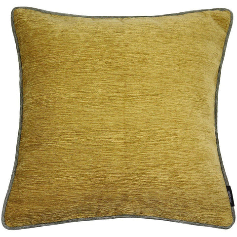 McAlister Textiles Alston Chenille Cushion - Ochre + Charcoal Grey-Cushions and Covers-