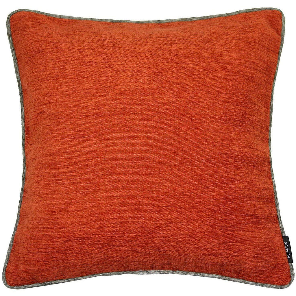 McAlister Textiles Alston Chenille Burnt Orange + Grey Cushion Cushions and Covers Cover Only 43cm x 43cm