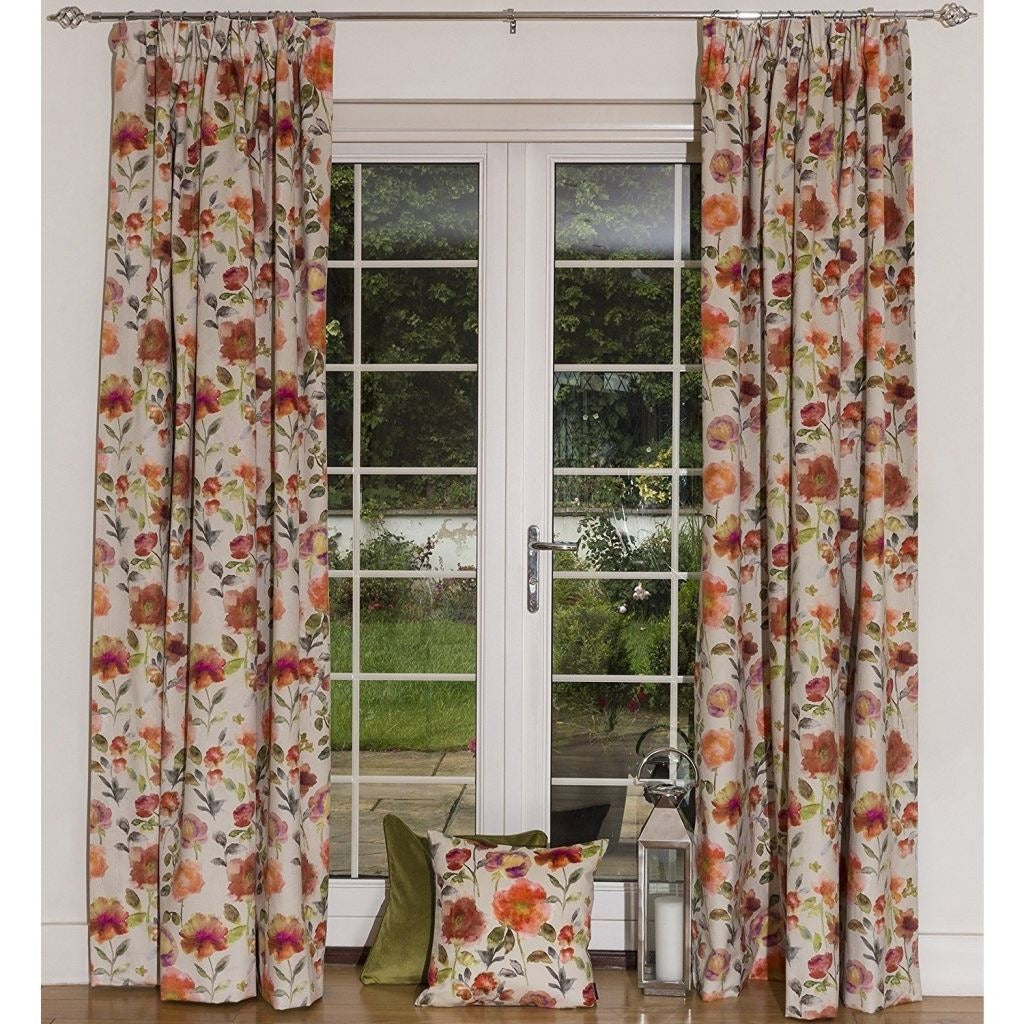 "McAlister Textiles Renoir Floral Orange Velvet Curtains Tailored Curtains 116cm(w) x 182cm(d) (46"" x 72"")"