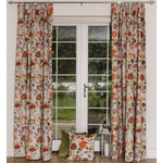 "Laden Sie das Bild in den Galerie-Viewer, McAlister Textiles Renoir Floral Orange Velvet Curtains Tailored Curtains 116cm(w) x 182cm(d) (46"" x 72"")"