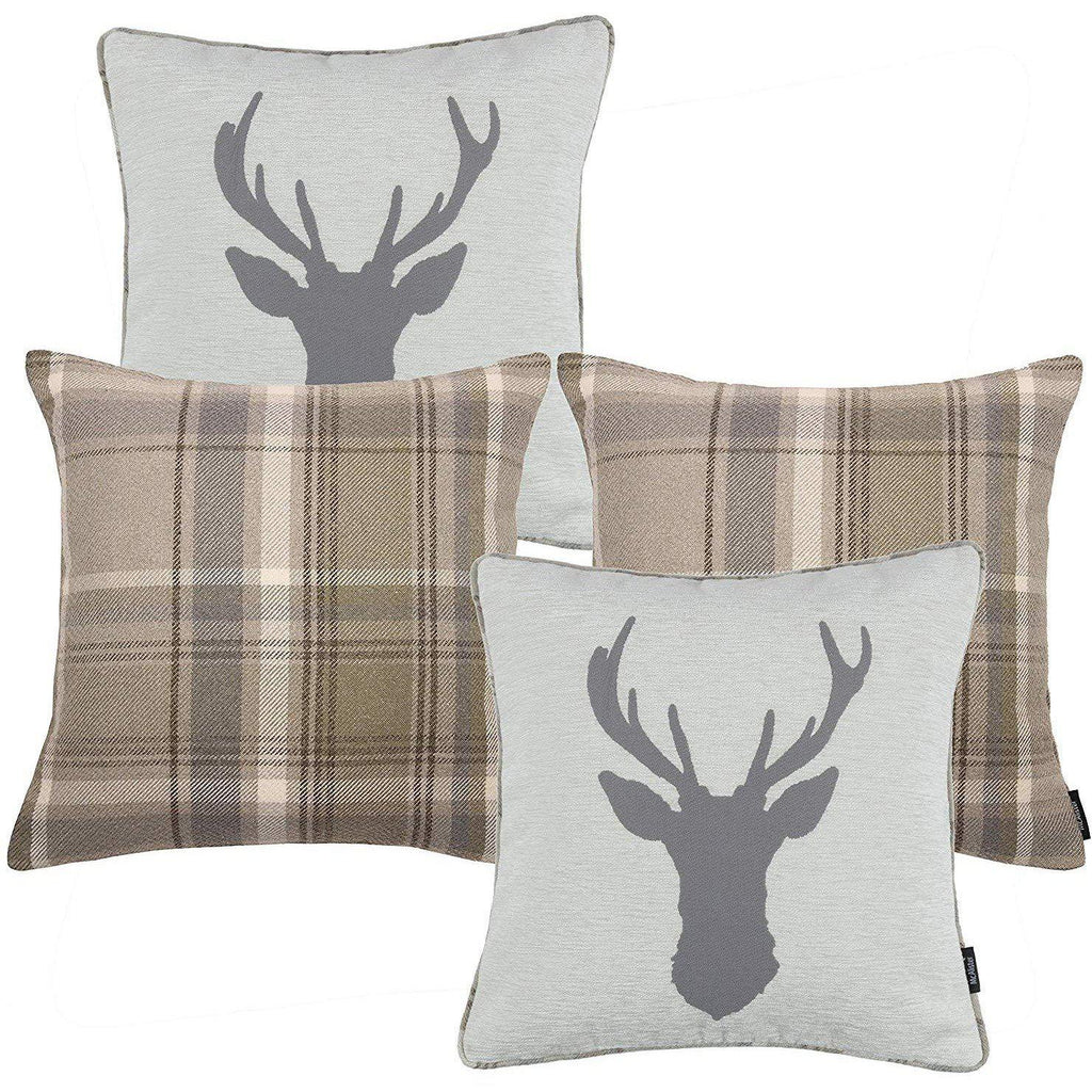 McAlister Textiles Stag Beige Grey Tartan 43cm x 43cm Cushion Set Cushions and Covers Cushion Covers