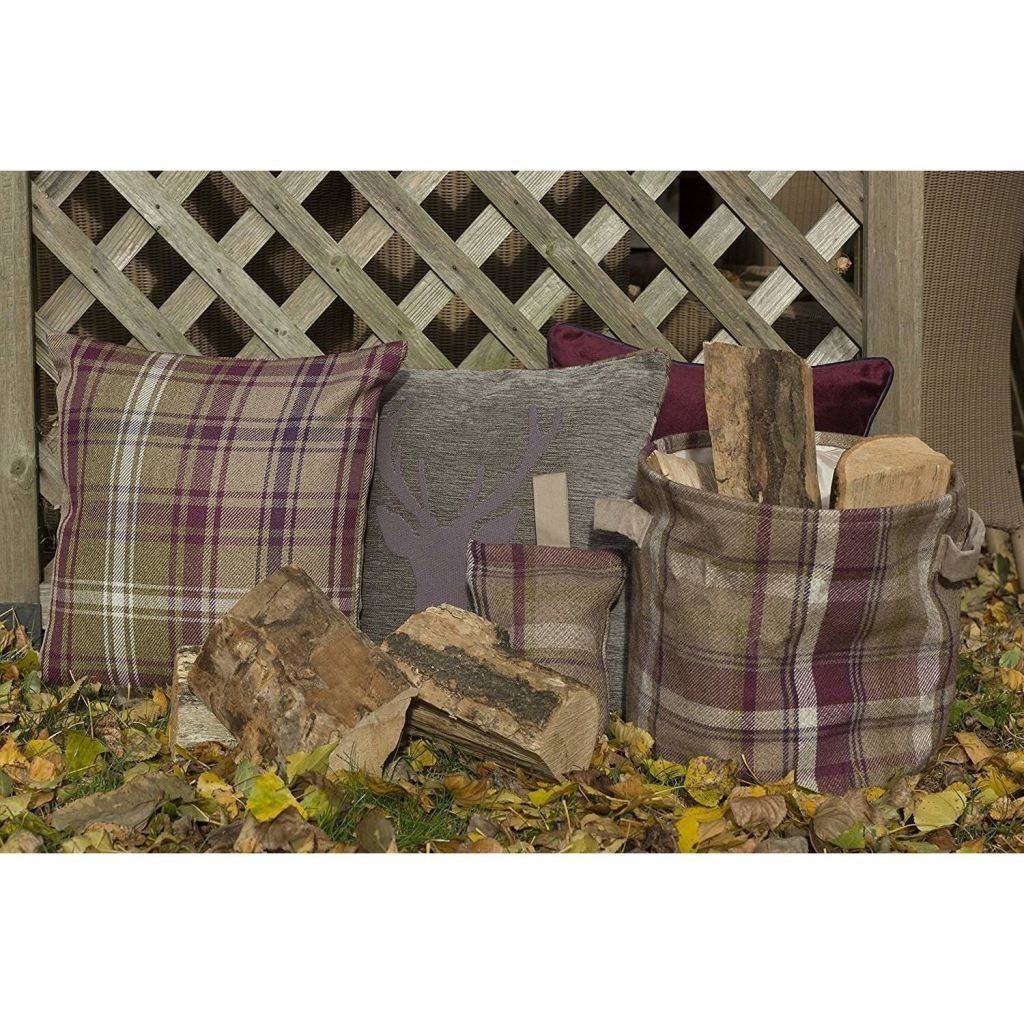 McAlister Textiles Heritage Purple + Green Tartan Cushion Cushions and Covers