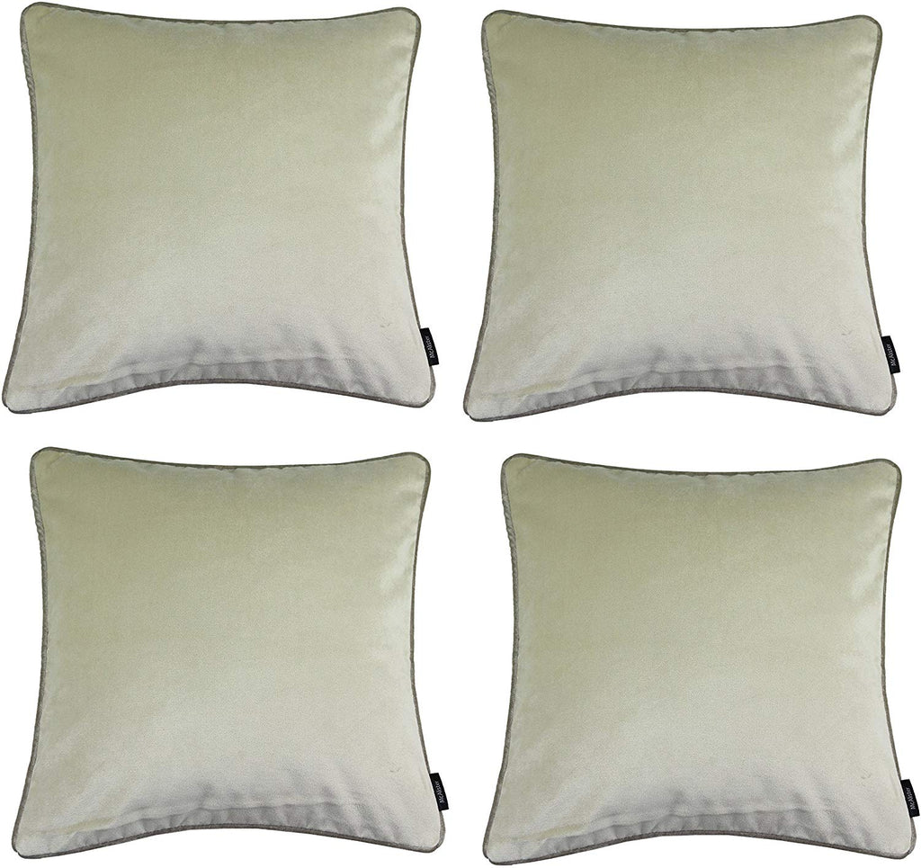 McAlister Textiles Matt Champagne Gold Velvet 43cm x 43cm Cushion Sets Cushions and Covers Cushion Covers Set of 4
