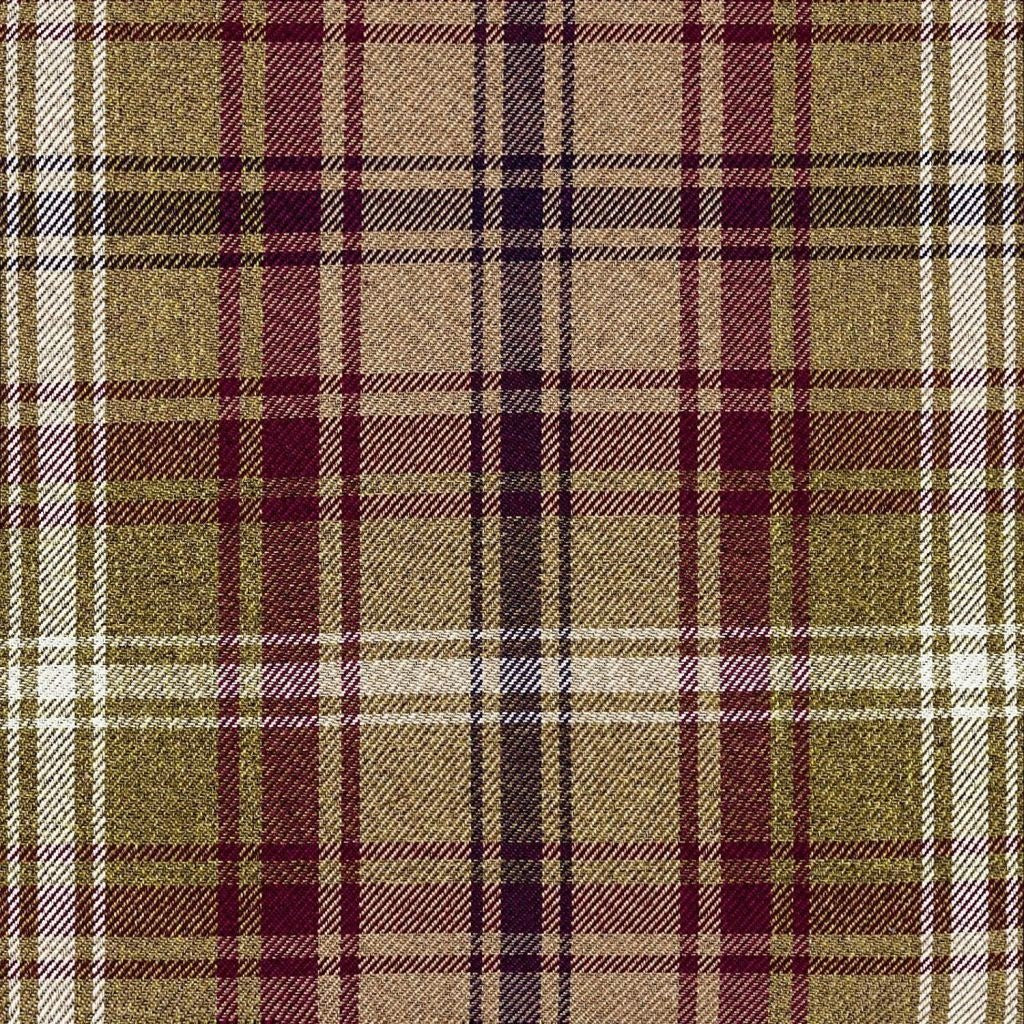 McAlister Textiles Angus Purple + Green Tartan Check Curtain Fabric Fabrics