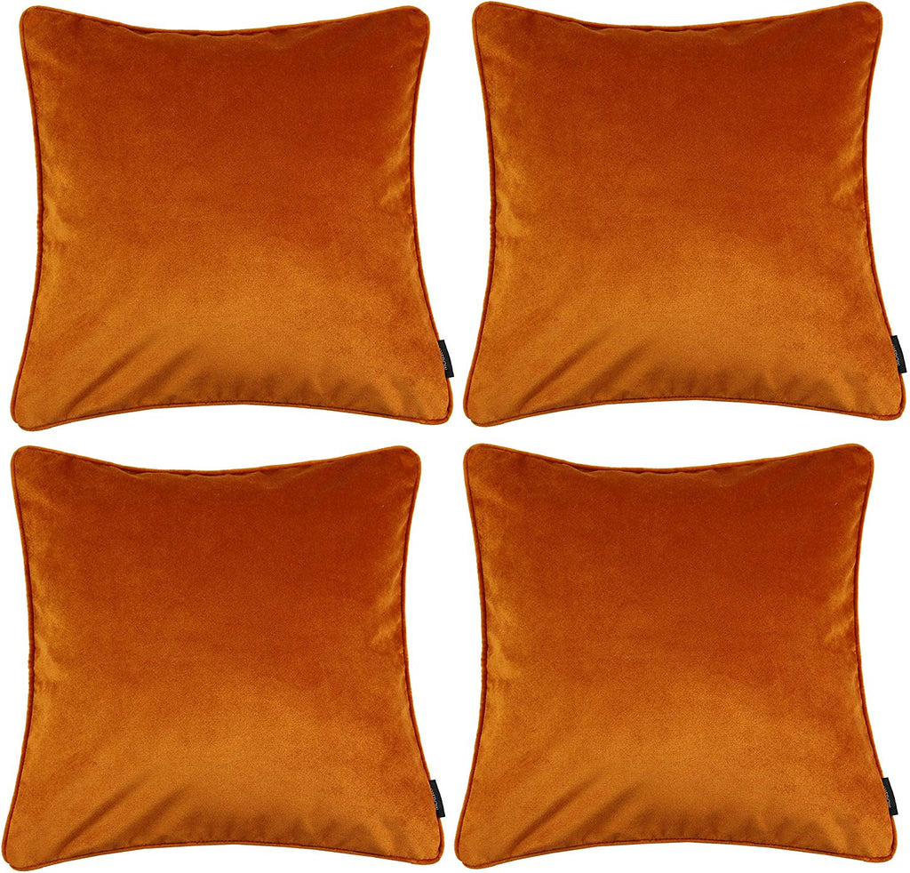 McAlister Textiles Matt Burnt Orange Velvet 43cm x 43cm Cushion Sets Cushions and Covers Cushion Covers Set of 4