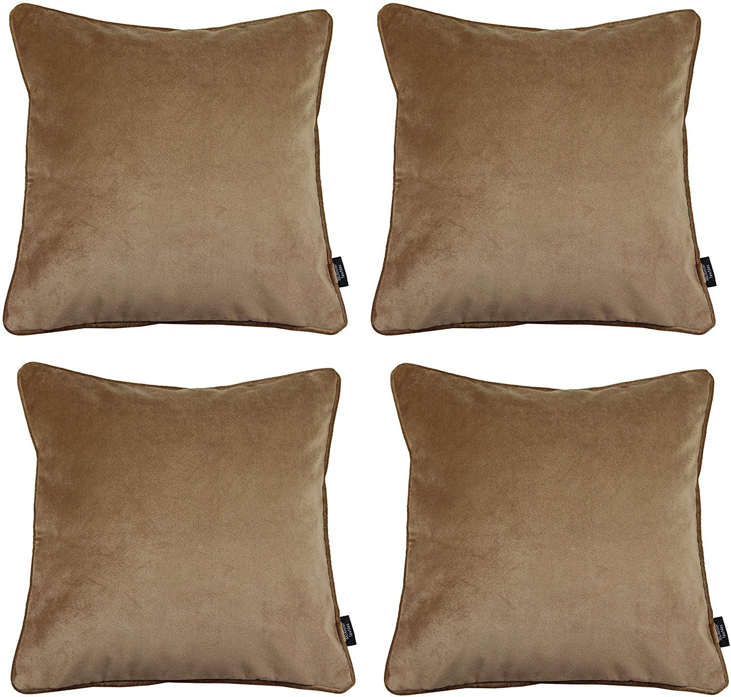 McAlister Textiles Matt Caramel Gold Velvet 43cm x 43cm Cushion Sets Cushions and Covers Cushion Covers Set of 4