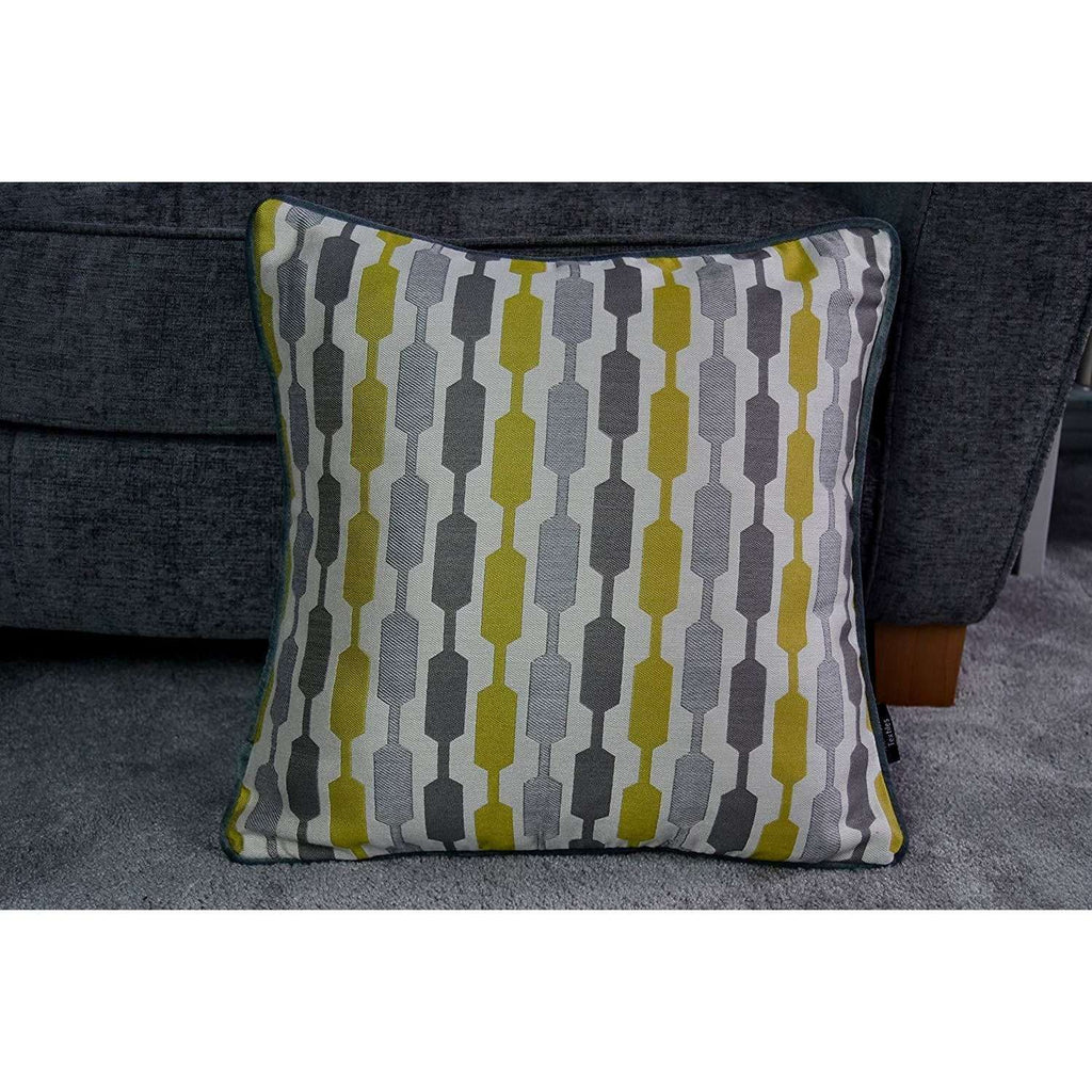 McAlister Textiles Yellow Geometric and Plain Velvet 43cm x 43cm Cushion Set of 3 Cushions and Covers