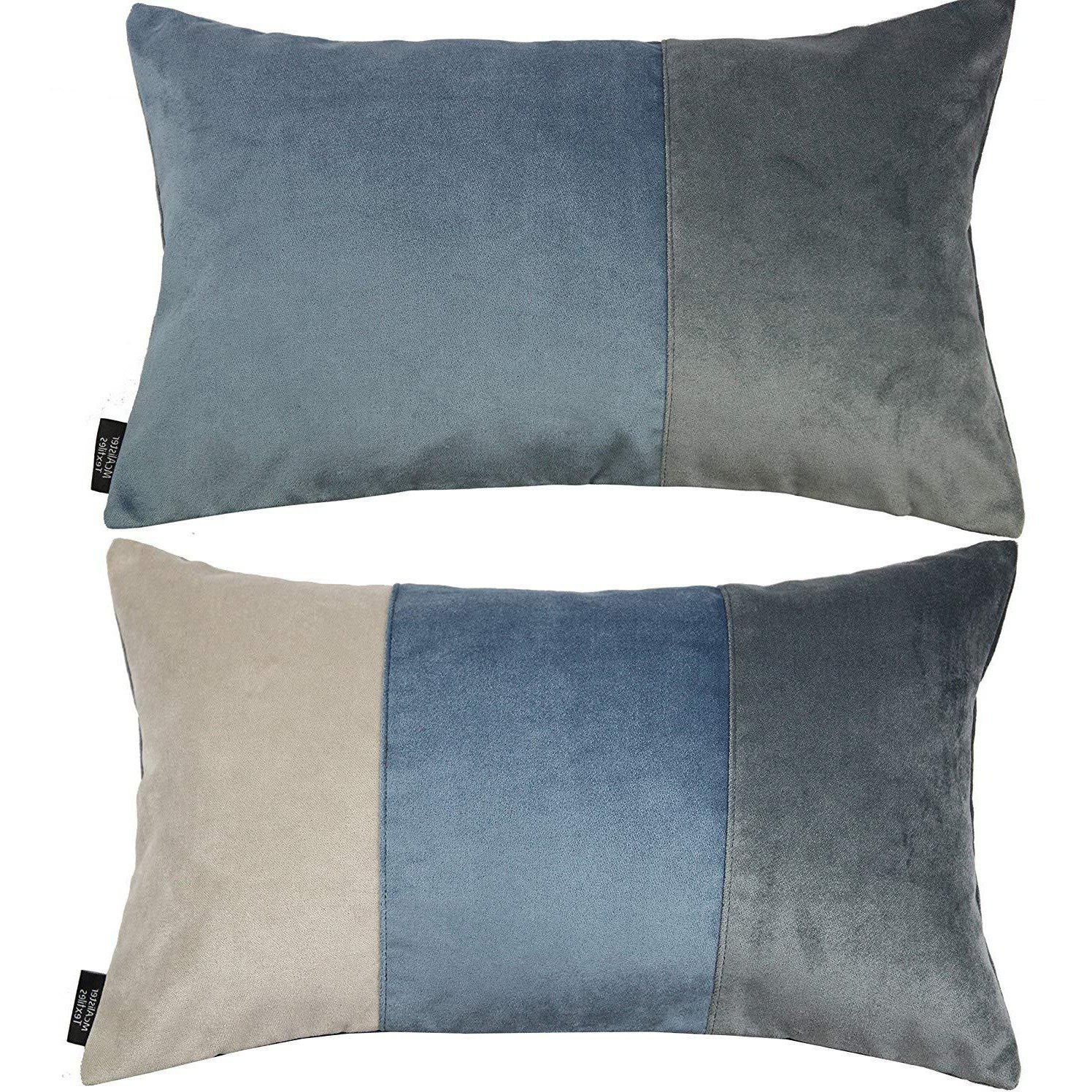 McAlister Textiles Patchwork Velvet Blue, Gold + Grey Pillow Set Pillow Set of 2 Cushion Covers