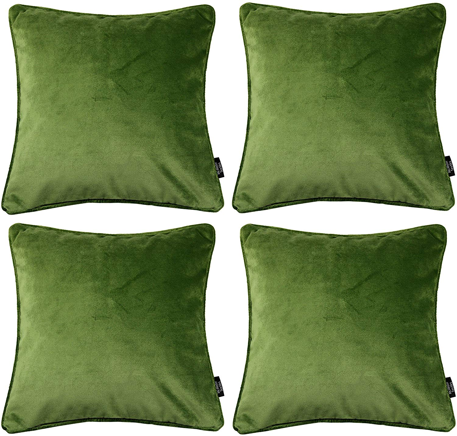McAlister Textiles Matt Fern Green Velvet 43cm x 43cm Cushion Sets Cushions and Covers Cushion Covers Set of 4