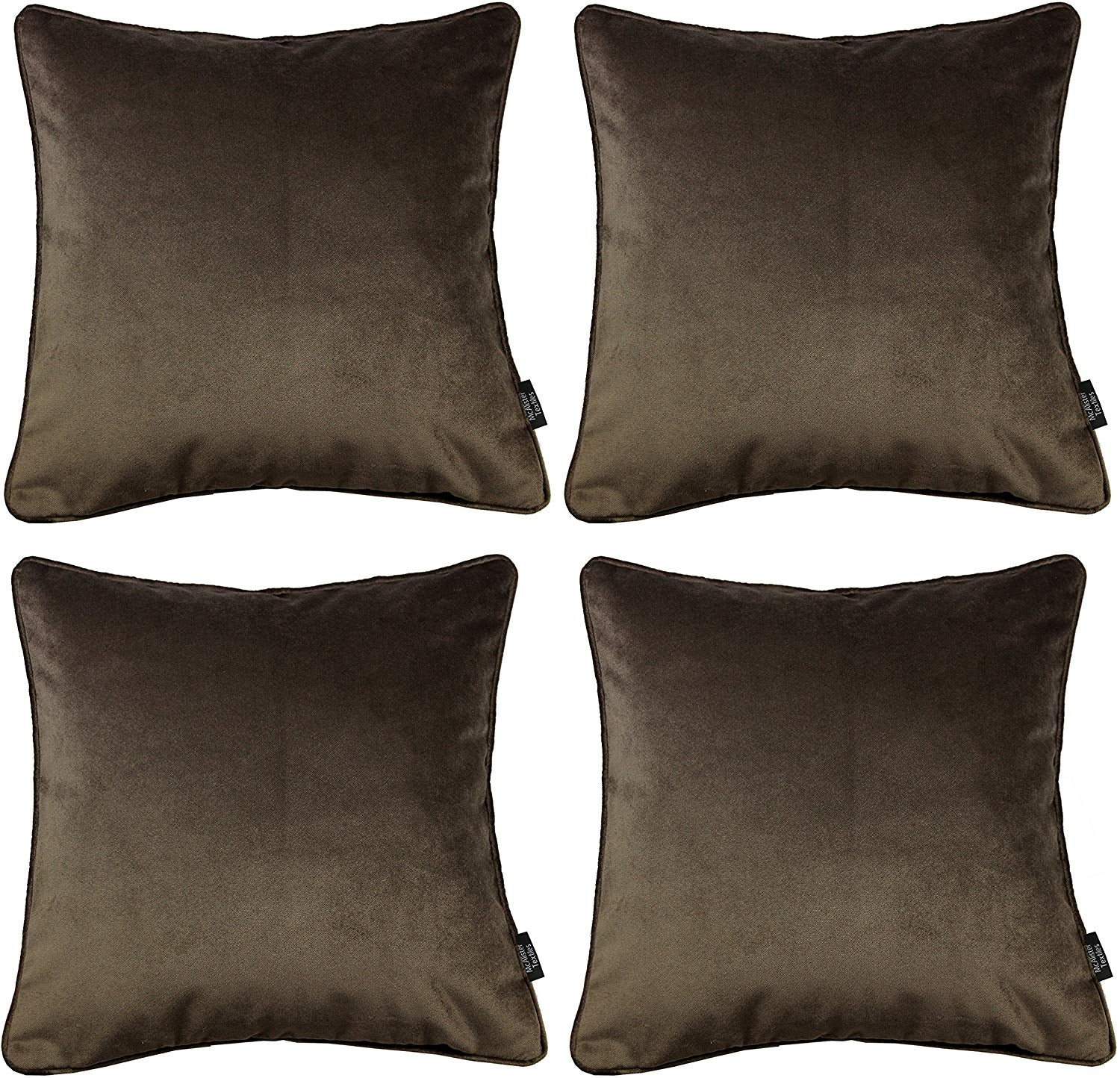 McAlister Textiles Matt Mocha Brown Velvet 43cm x 43cm Cushion Sets Cushions and Covers Cushion Covers Set of 4