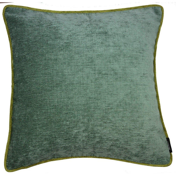 McAlister Textiles Alston Chenille Duck Egg + Green Cushion Cushions and Covers