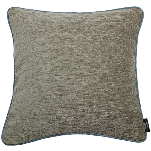 McAlister Textiles Alston Chenille Cushion - Taupe + Wedgewood Blue-Cushions and Covers-