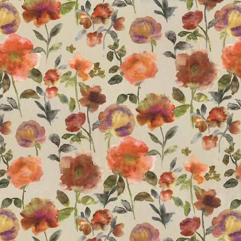 McAlister Textiles Renoir Floral Orange Spice Curtains-Tailored Curtains-