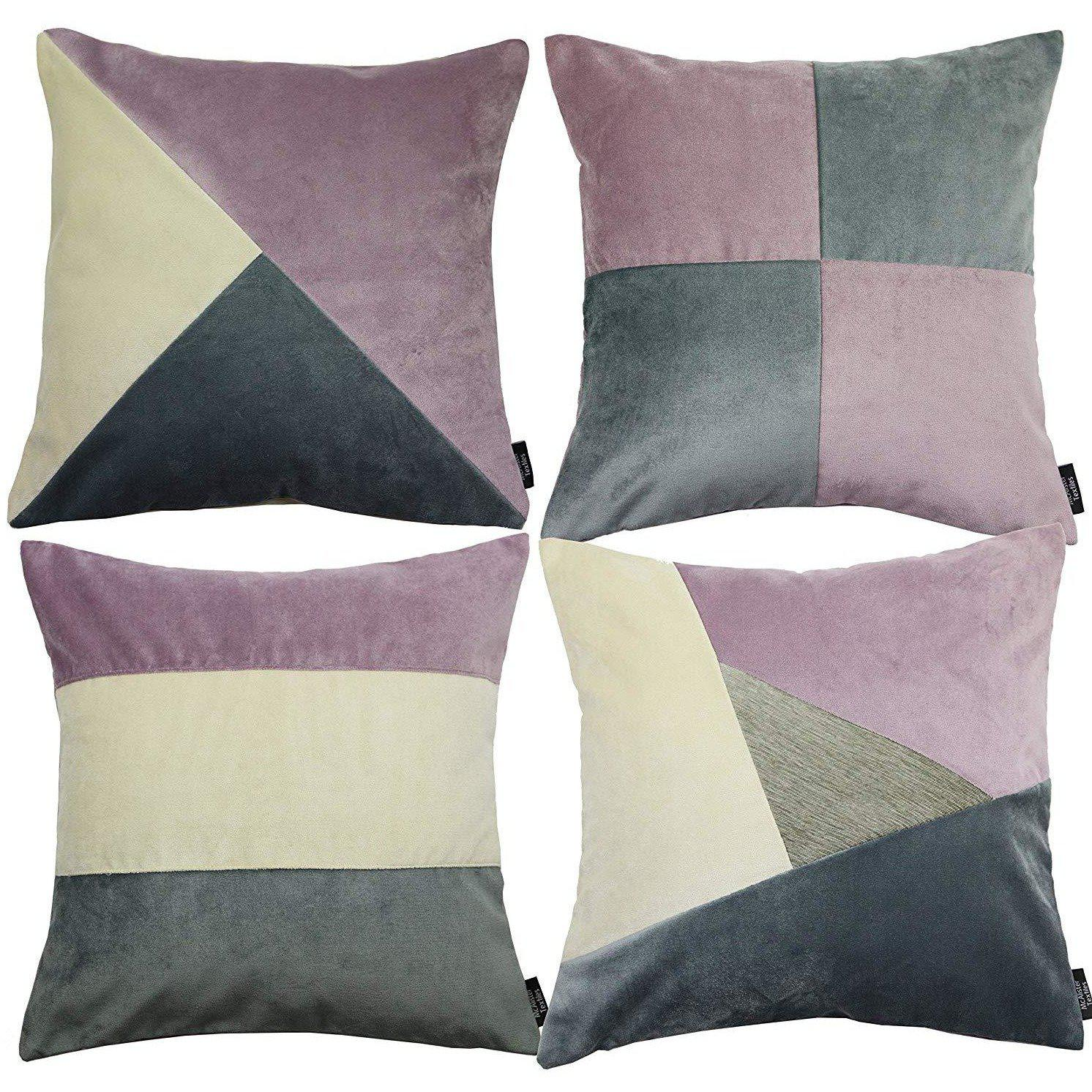 McAlister Textiles Patchwork Velvet Purple, Gold + Grey Cushion Set Cushions and Covers Cushion Covers