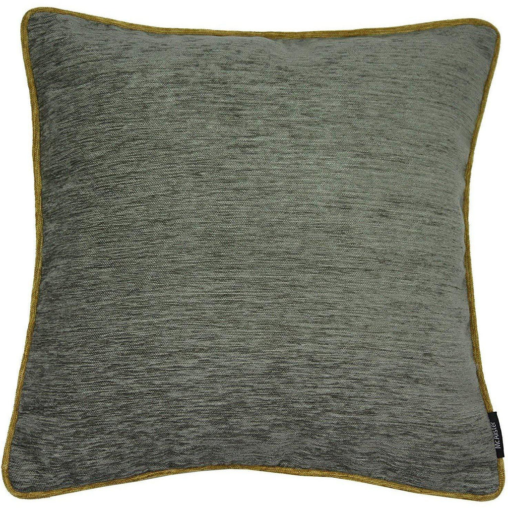McAlister Textiles Alston Chenille Grey + Yellow Cushion Cushions and Covers Cover Only 43cm x 43cm