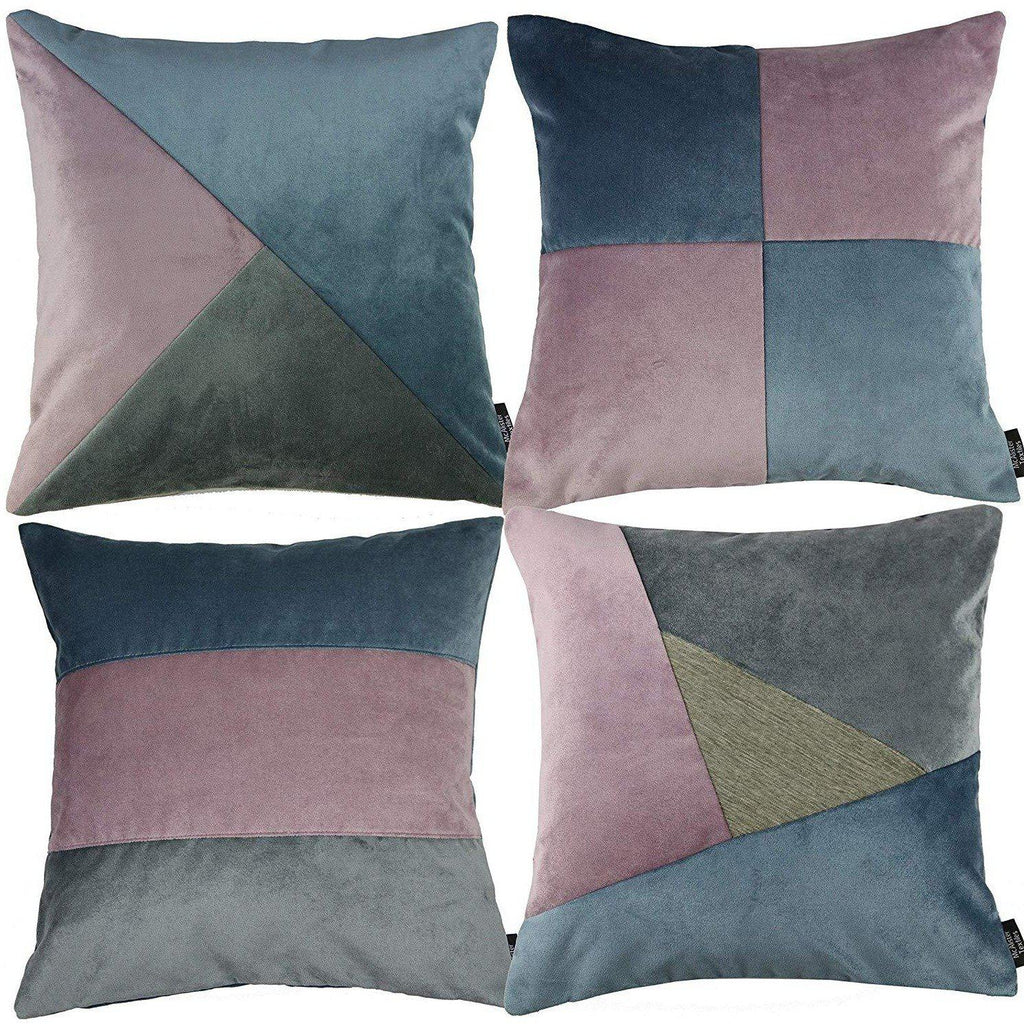 McAlister Textiles Patchwork Velvet Purple, Blue + Grey Cushion Set Cushions and Covers Cushion Covers