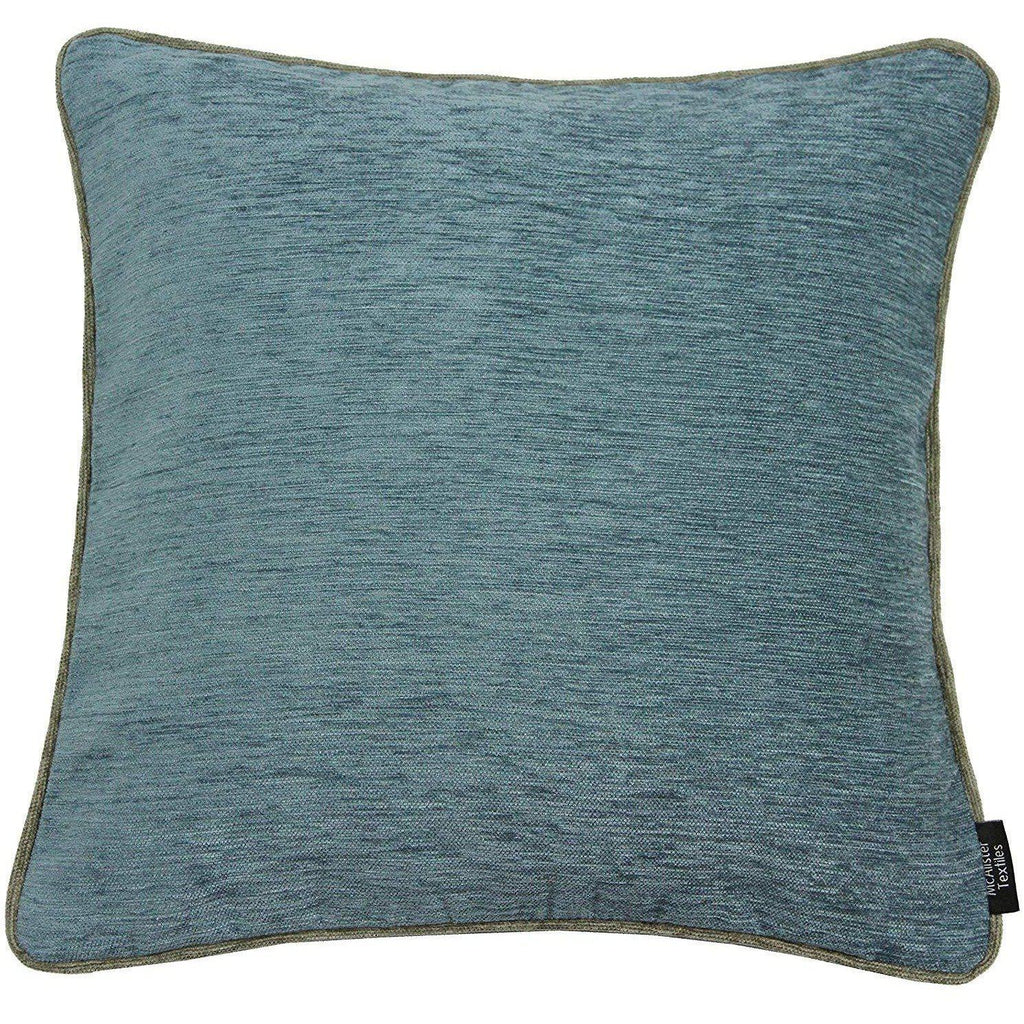 McAlister Textiles Alston Chenille Blue + Beige Cushion Cushions and Covers Cover Only 43cm x 43cm
