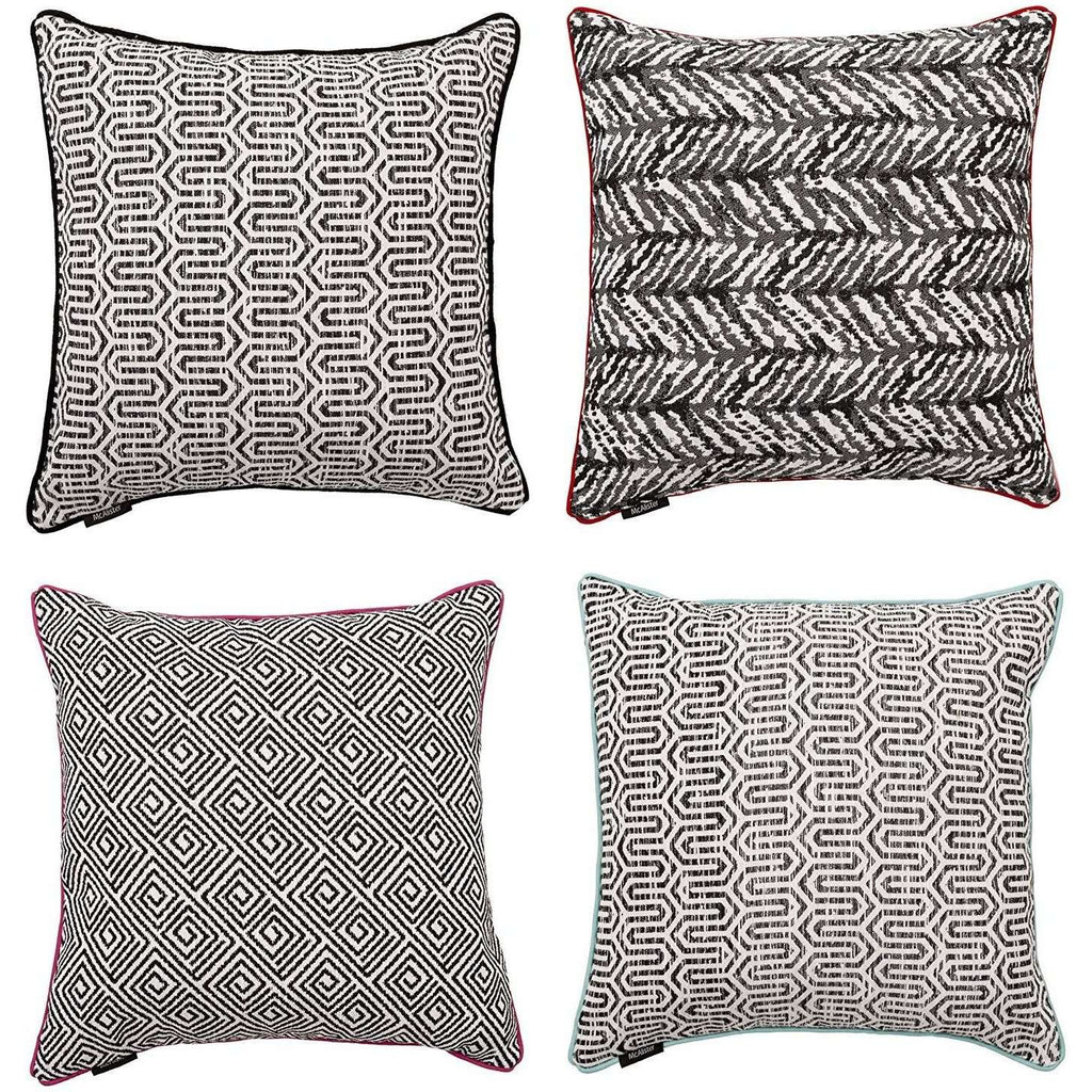 McAlister Textiles Aztec Geometric Black + White 43cm x 43cm Cushion Sets Cushions and Covers Set of 4 Cushion Covers