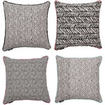 Cargar imagen en el visor de la galería, McAlister Textiles Aztec Geometric Black + White 43cm x 43cm Cushion Sets Cushions and Covers Set of 4 Cushion Covers