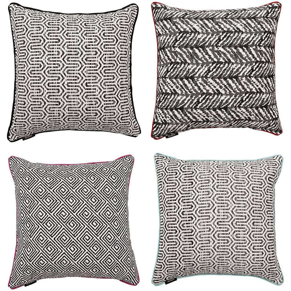 McAlister Textiles Aztec Geometric Black + White Cushion Sets Cushions and Covers Set of 4 Cushion Covers