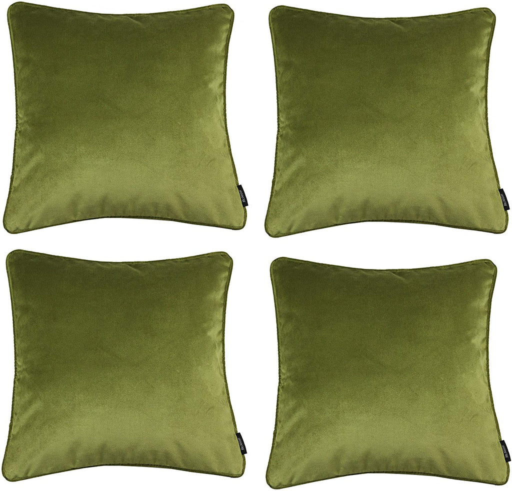 McAlister Textiles Matt Lime Green Velvet 43cm x 43cm Cushion Sets Cushions and Covers Cushion Covers Set of 4