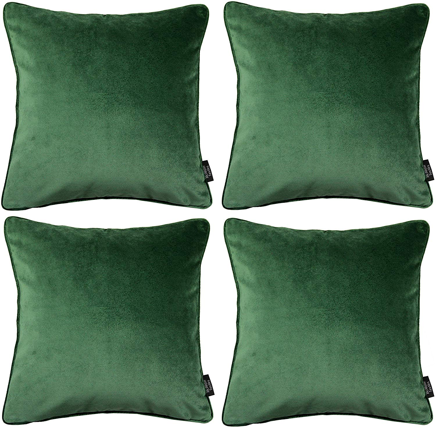 McAlister Textiles Matt Moss Green Velvet 43cm x 43cm Cushion Sets Cushions and Covers Cushion Covers Set of 4
