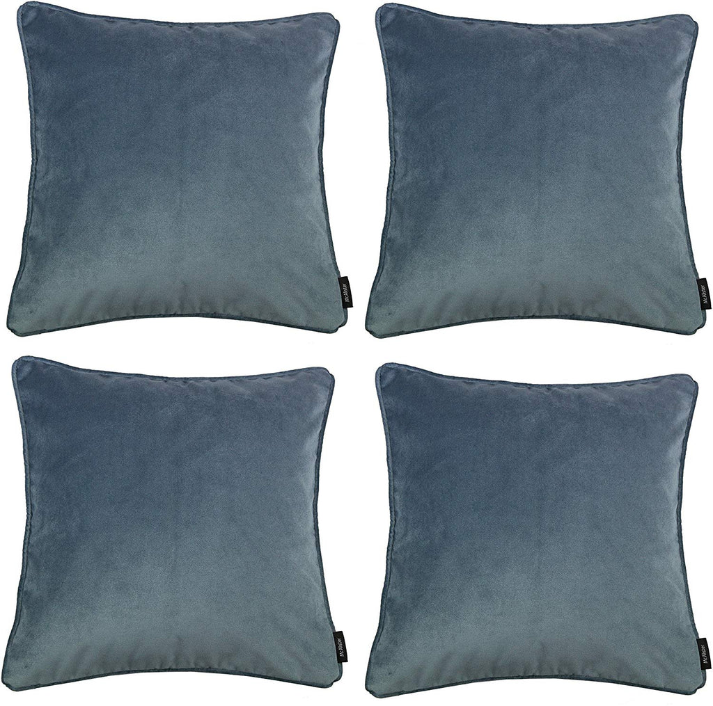 McAlister Textiles Matt Petrol Blue Velvet 43cm x 43cm Cushion Sets Cushions and Covers Cushion Covers Set of 4