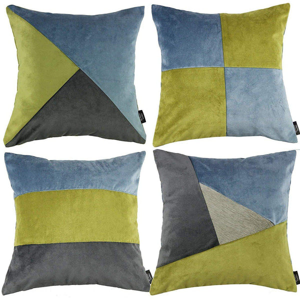 McAlister Textiles Patchwork Velvet Green, Blue + Grey Cushion Set Cushions and Covers Cushion Covers
