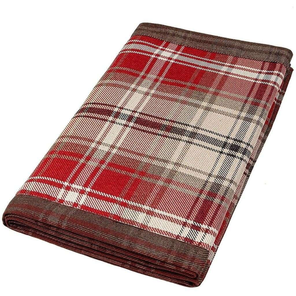 McAlister Textiles Angus Red + White Tartan Table Runner Throws and Runners