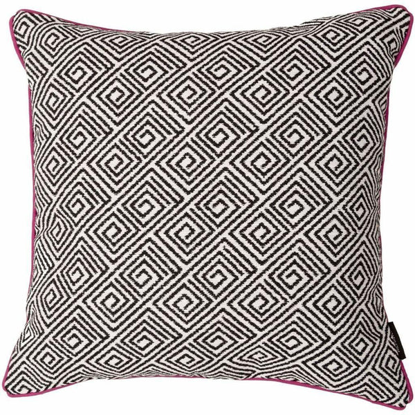 McAlister Textiles Acapulco Geometric Cushion - Black + White-Cushions and Covers-
