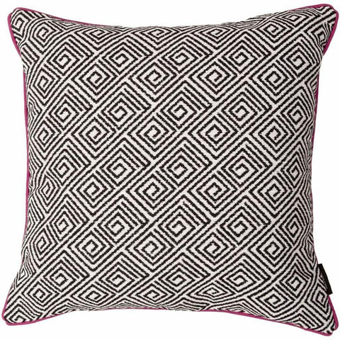 McAlister Textiles Acapulco Geometric Pattern Fabric Cushion Pillow Cover Black & White