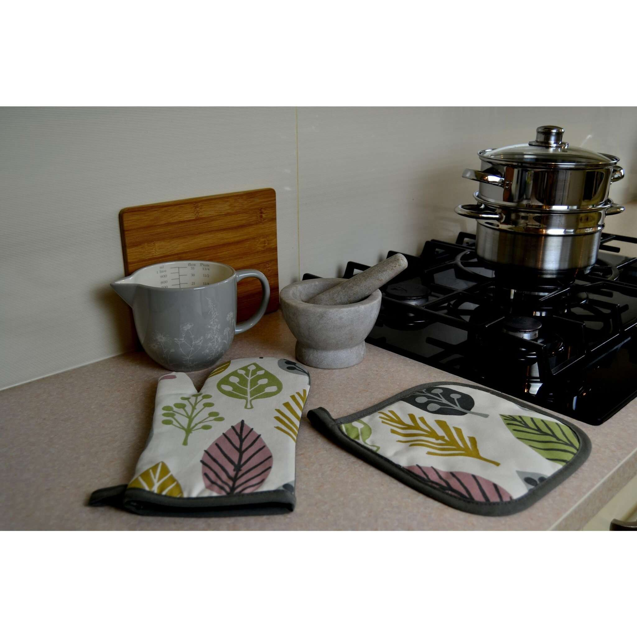 McAlister Textiles Magda Pink Cotton Print Double Oven Mitts Kitchen Accessories