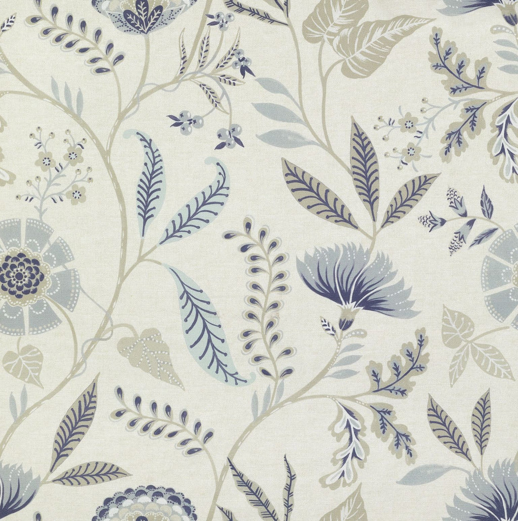 McAlister Textiles Florence Powder Blue Floral Printed Fabric Fabrics 1/2 Metre