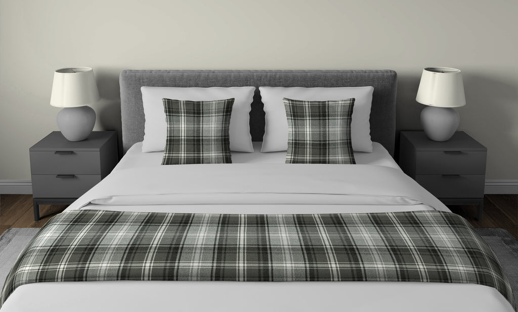 McAlister Textiles Angus Charcoal Grey Tartan Bedding Set Bedding Set