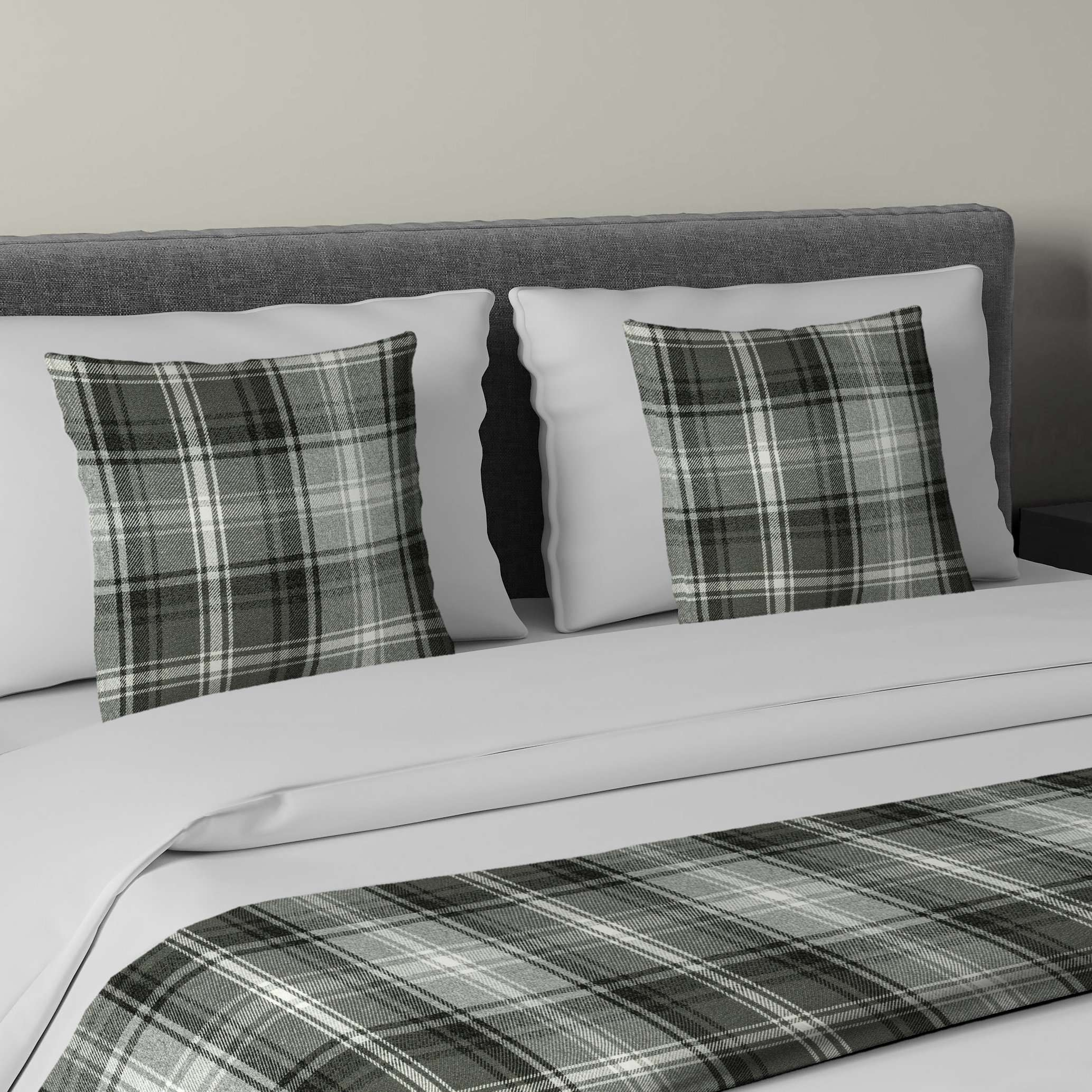 McAlister Textiles Angus Charcoal Grey Tartan Bedding Set Bedding Set Runner (50x240cm) + 2x Cushion Covers