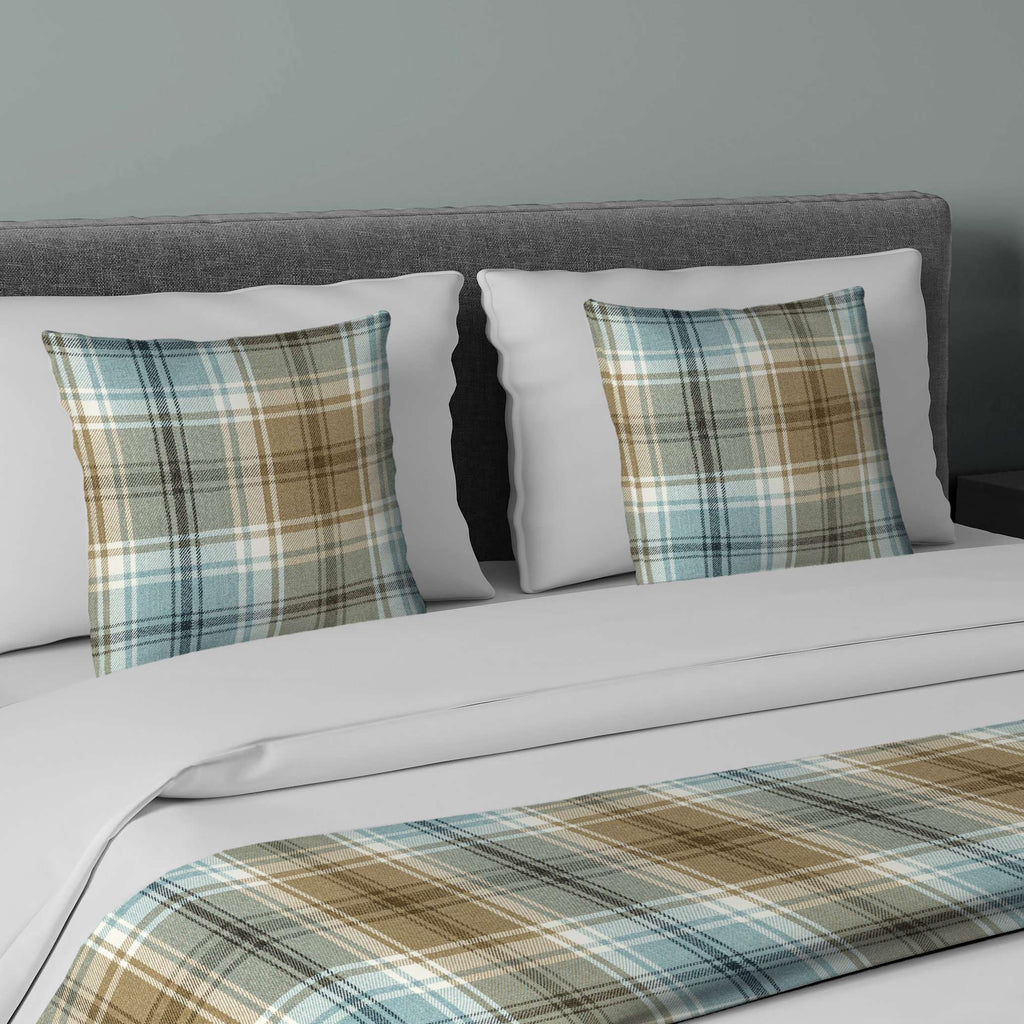 McAlister Textiles Angus Duck Egg Blue Tartan Bedding Set Bedding Set Runner (50x240cm) + 2x Cushion Covers