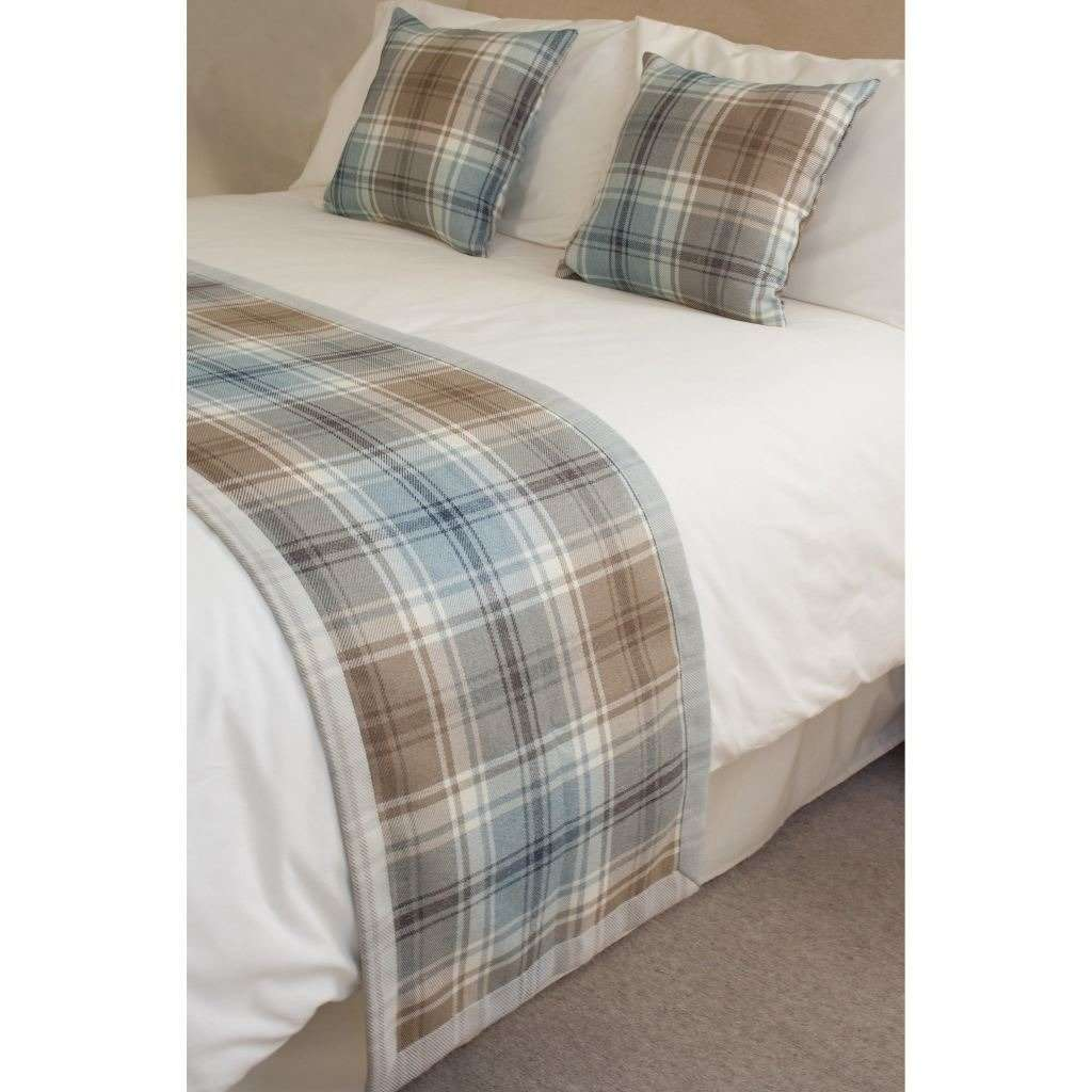 McAlister Textiles Angus Duck Egg Blue Tartan Throw Throws and Runners