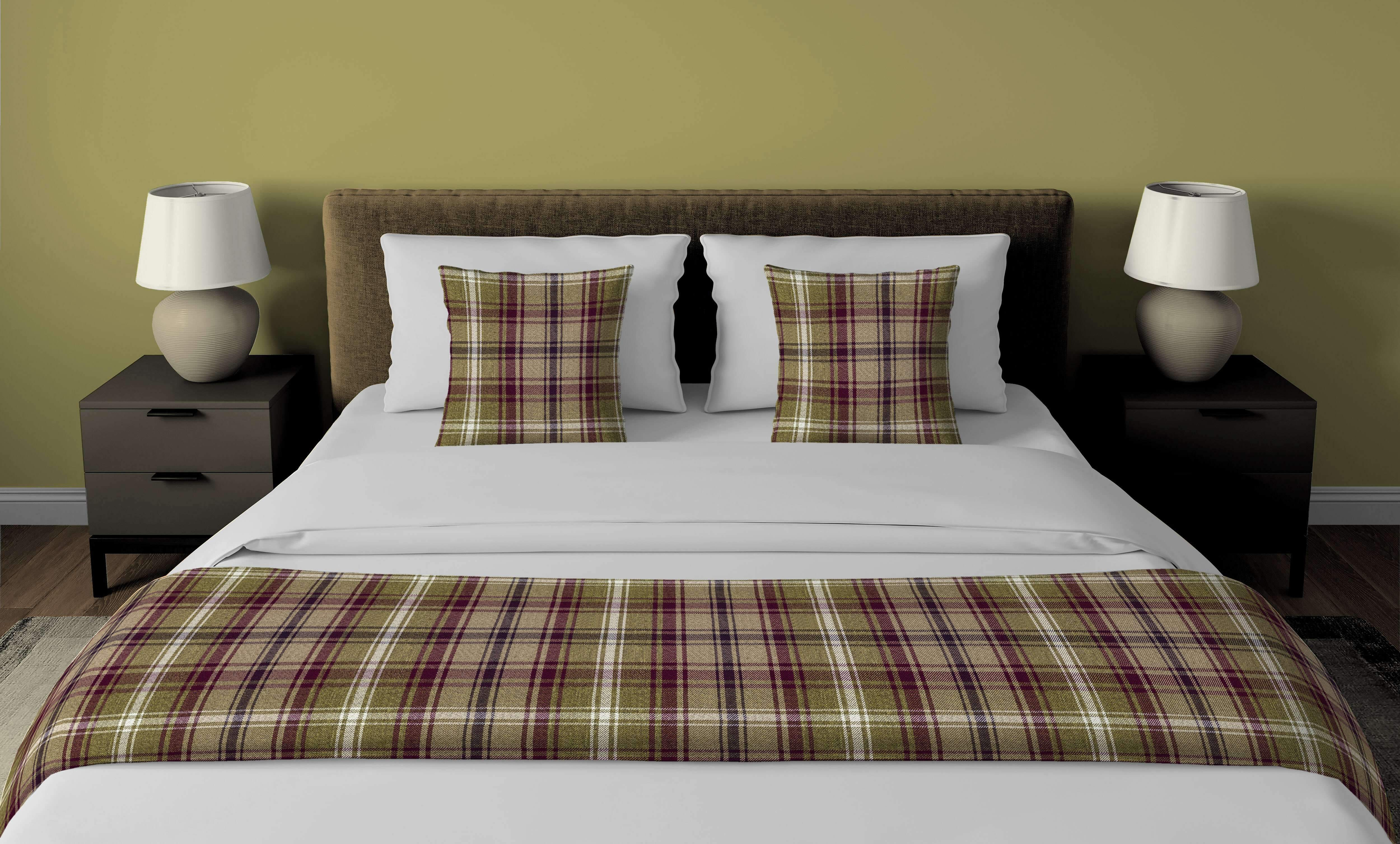 McAlister Textiles Angus Purple + Green Tartan Bedding Set Bedding Set