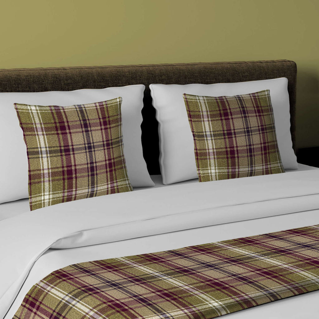 McAlister Textiles Angus Purple + Green Tartan Bedding Set Bedding Set Runner (50x240cm) + 2x Cushion Covers