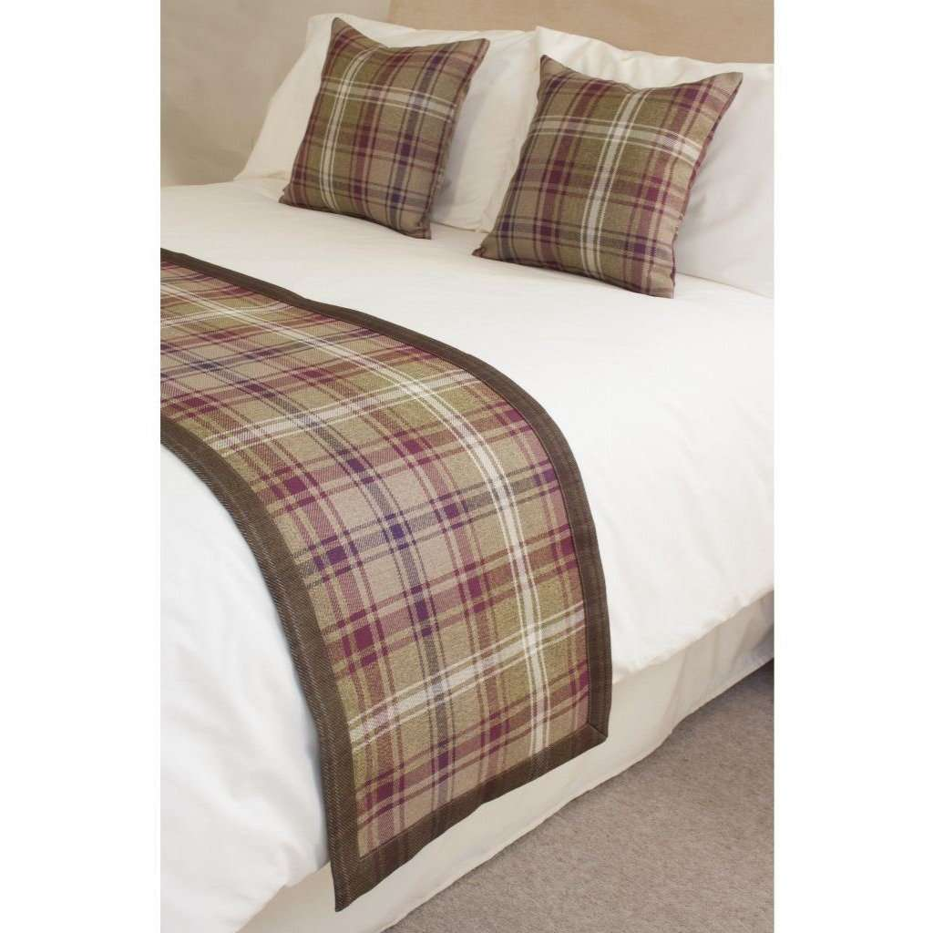 McAlister Textiles Angus Purple + Green Tartan Throws & Runners Throws and Runners