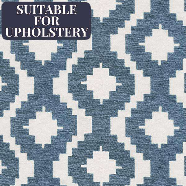 McAlister Textiles Arizona Geometric Wedgewood Blue Fabric Fabrics